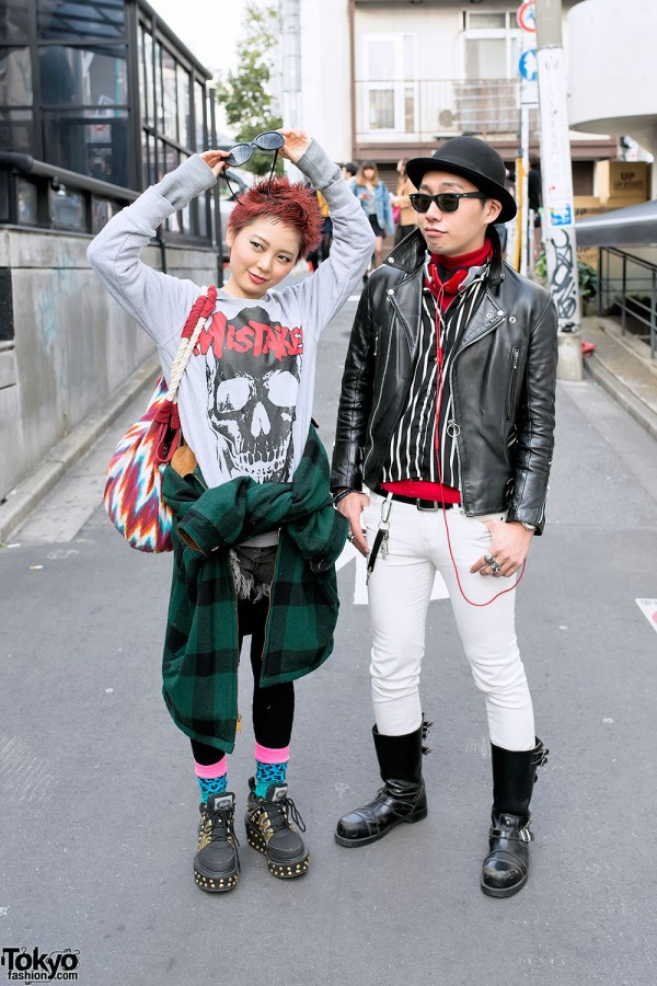 Harajuku Duo w/ Glad News, Leather Jacket, Sunglasses & Studded Platforms