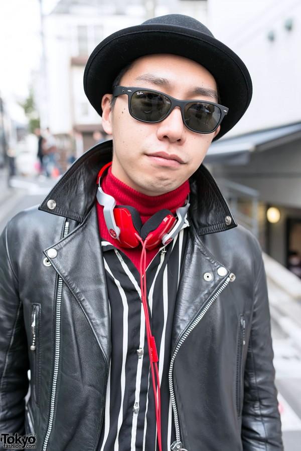 Ray-Bans & Leather Biker Jacket in Harajuku