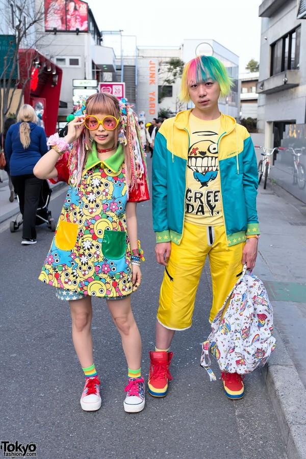 Kawaii 90884 Dress, Colorful Hair & Dress 'N Dazzle Donut Watch in Harajuku