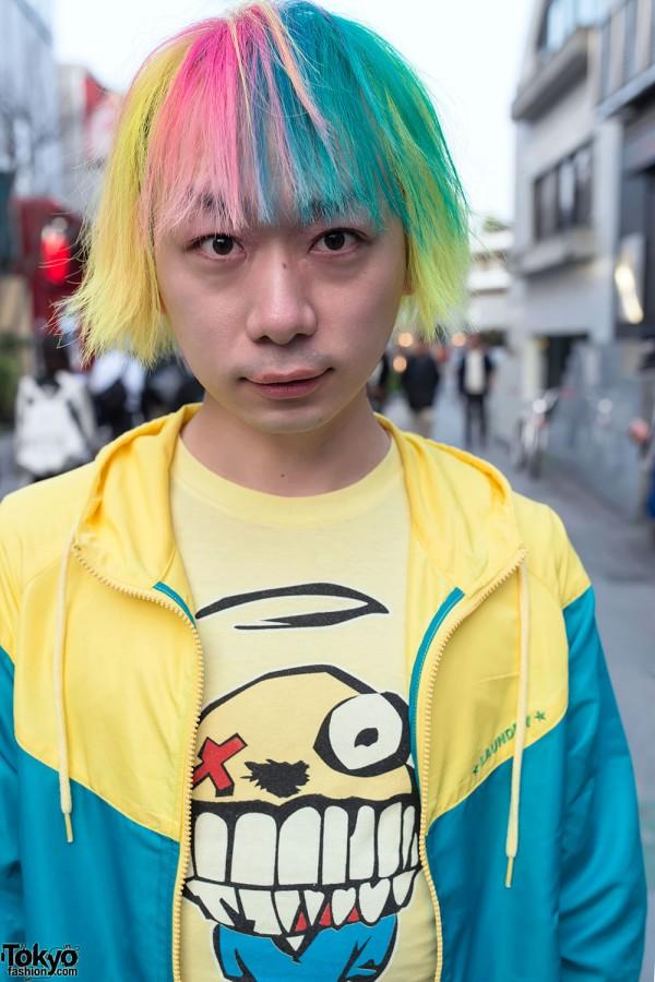 Junnyan Wearing Green Day in Harajuku
