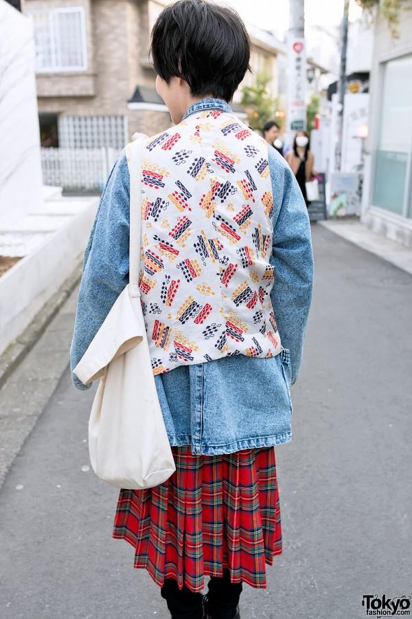 Patterned Vest Over Acid Wash Jacket