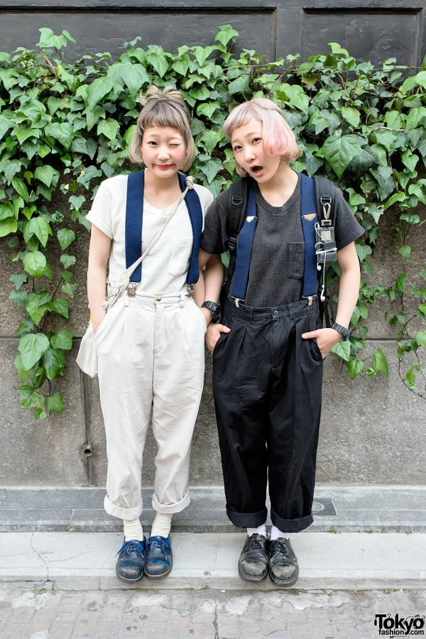 Harajuku Twins Nari & Naru w/ Resale Fashion, Suspenders & Dr. Martens