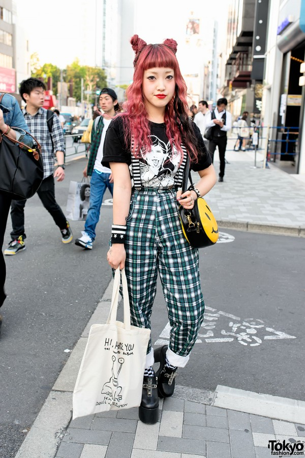 Plaid Pants & Unif platforms in Harajuku