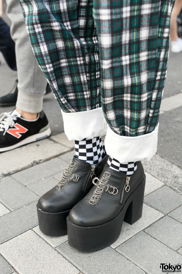 Unif Platform Booties & Checkered Socks