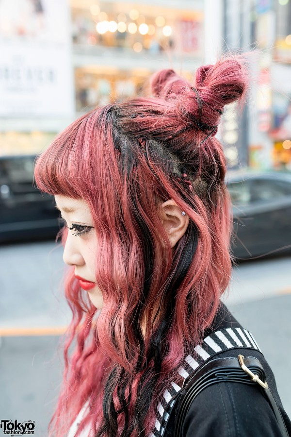 Pink Double Buns Hairstyle in Harajuku