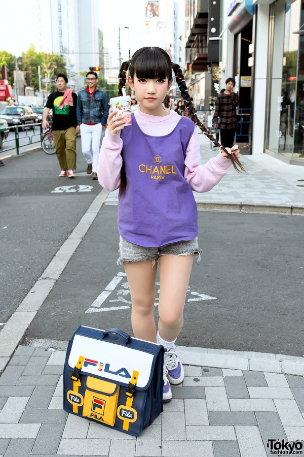 Rinyo's Cute Twin Braids, Fila Bag & Strawberry Milk in Harajuku