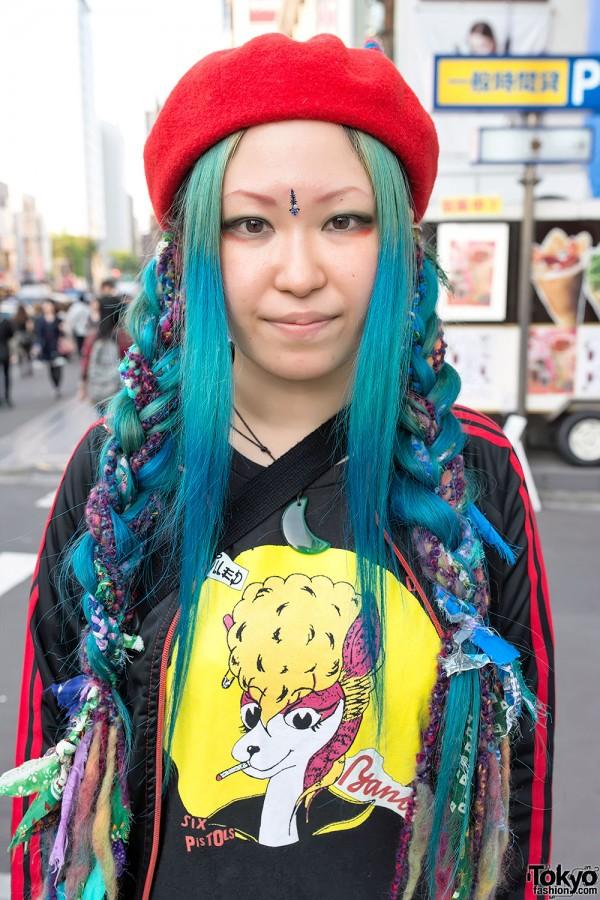 Blue Hair & Devil Horns Beret