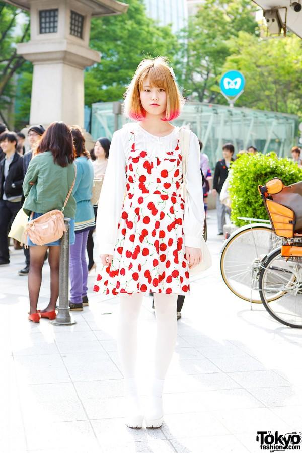 Pink Hair Tips, Spinns Cherry Print Dress & Nadia Harajuku Tote
