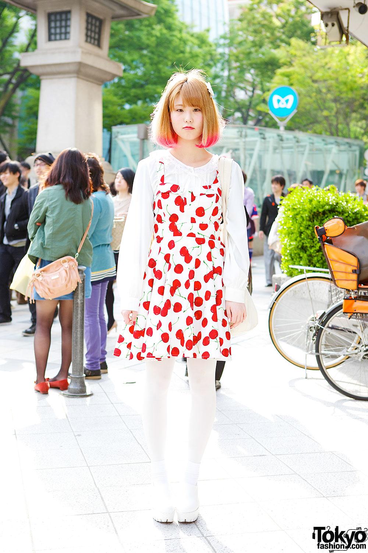 Pink Hair Tips Spinns Cherry Print Dress Nadia Harajuku