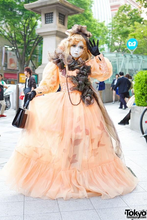 Shironuri Artist Minori in Orange Princess Dress & Handmade Accessories