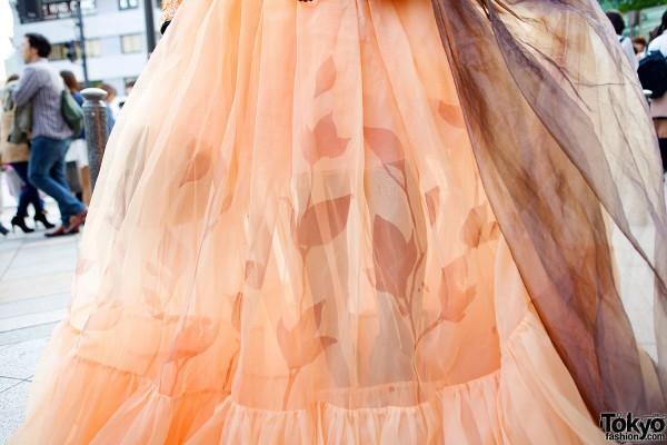 Orange Dress with Handpainted Leaves
