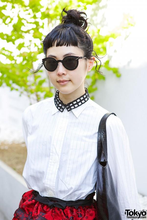 White Shirt & Collar Necklace