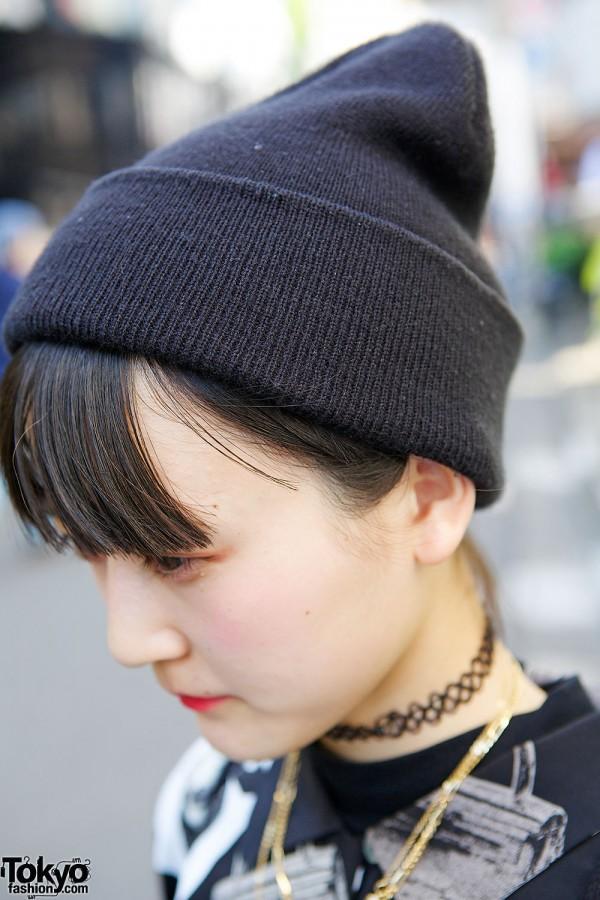 Black Beanie & Tattoo Necklace