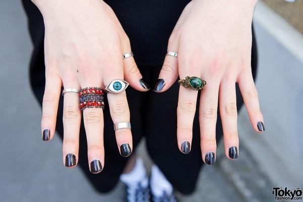 Handmade Rings & Black Nails