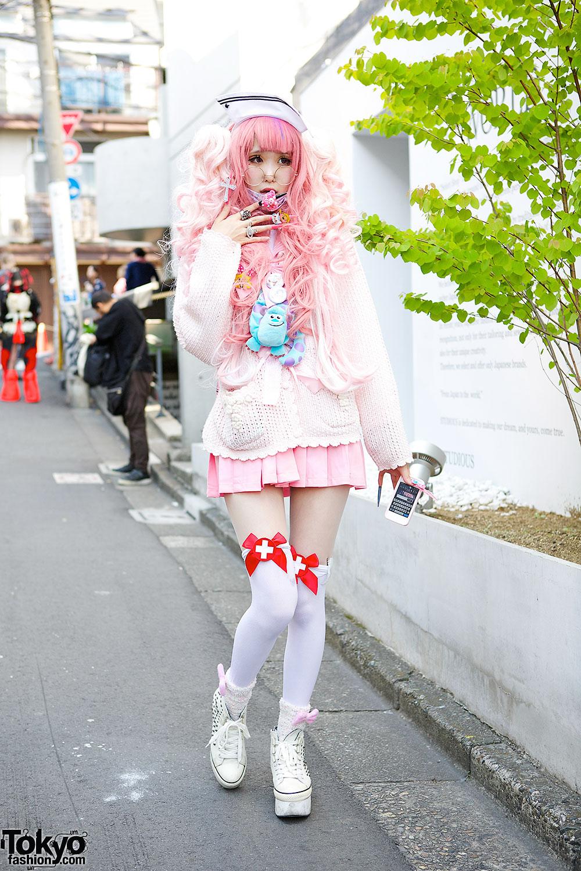 Pink Hair, Pink Fashion & Knee Socks