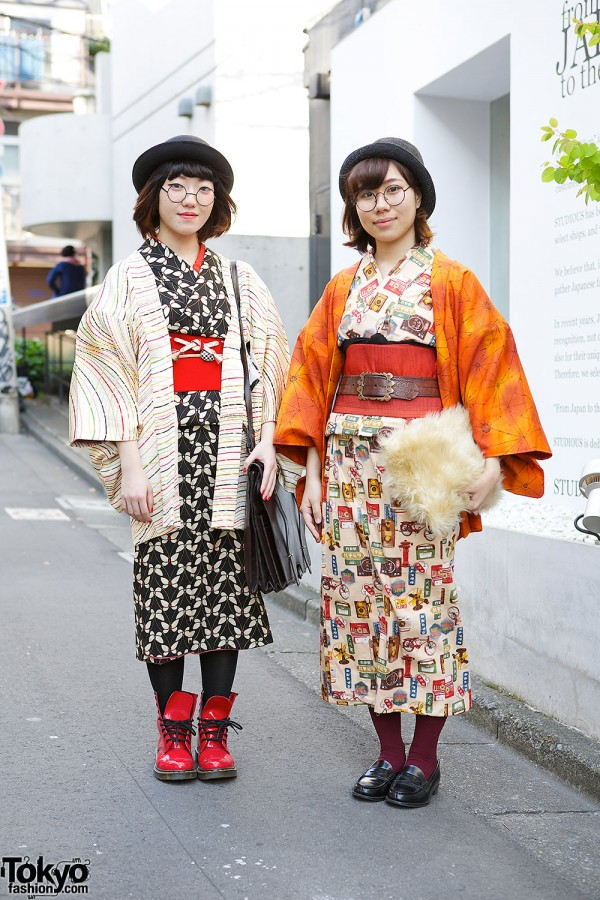 Harajuku Girls in Kimonos w/ Handmade Items & Dr. Martens