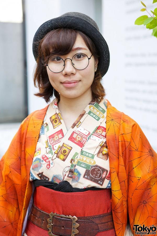 Vintage Print Kimono