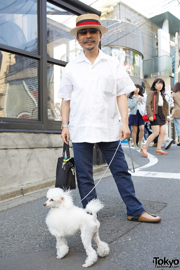 Cool Harajuku Guy with a Poodle