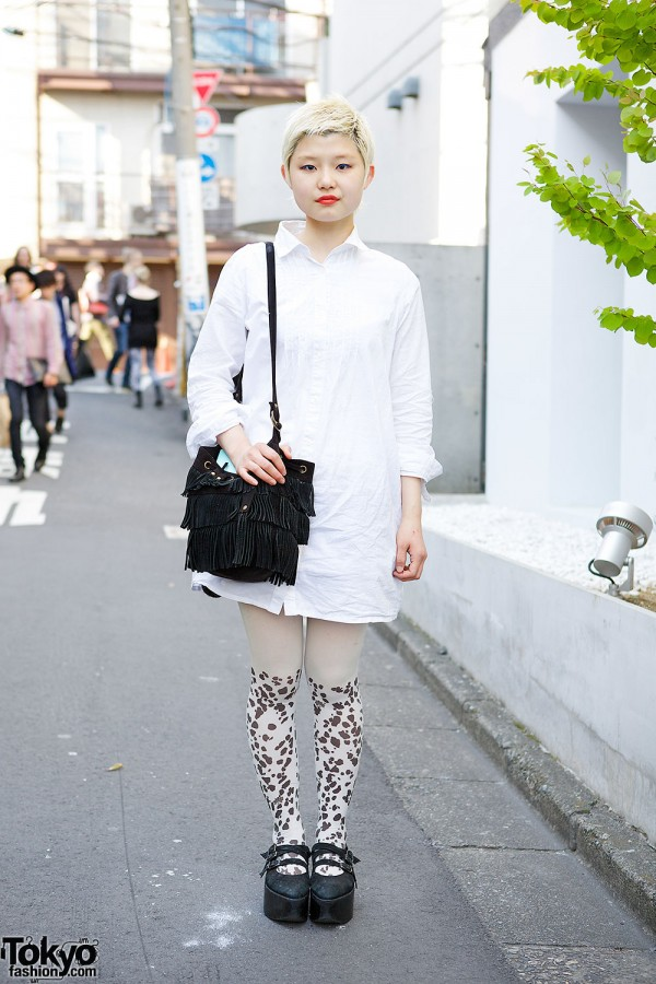 Shirt Dress, Sister Tights, United Arrows Fringe Bag & Belly Button Shoes in Harajuku
