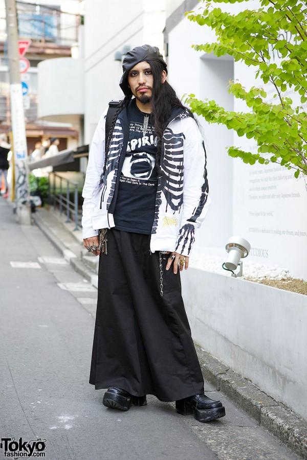Harajuku DJ w/ Suspiria T-shirt, Skeleton Jacket, Silver Jewelry & Boots