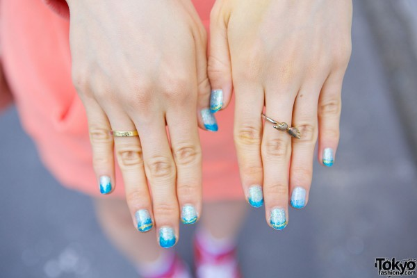 Wings Ring & Blue Nails