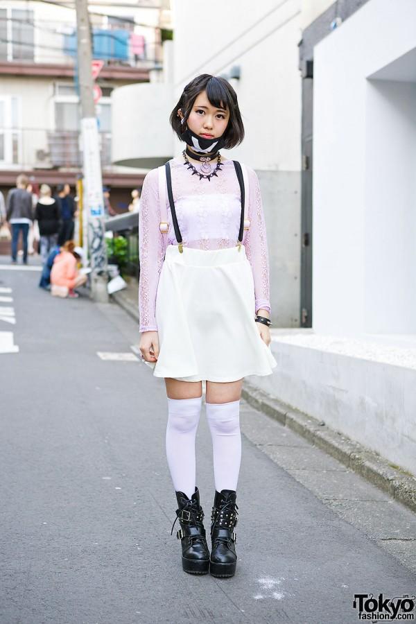 Harajuku Girl in Spinns Lace Top & WEGO Suspender Skirt