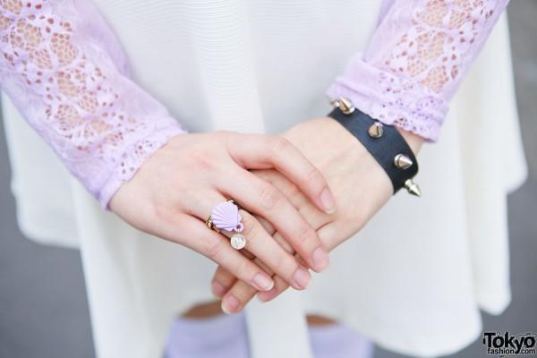 Spike Bracelet & Seashell Ring