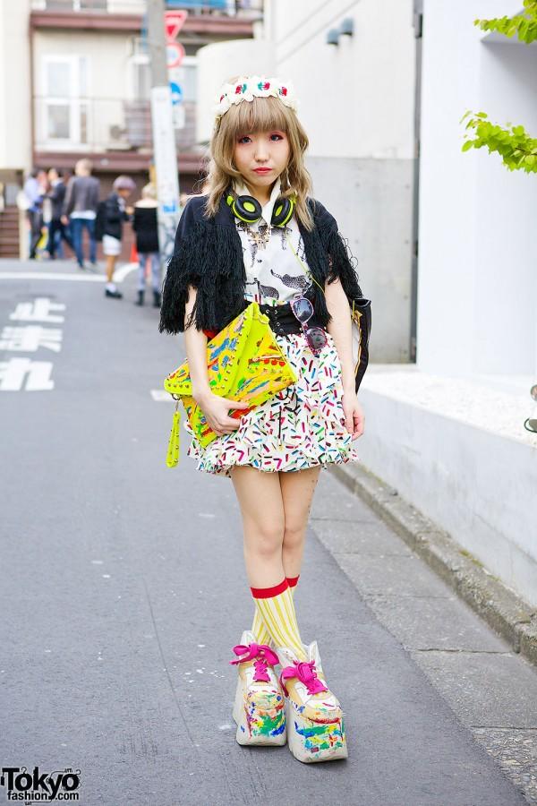 Harajuku Girl w/ Painted Clutch, Buffalo Platforms & Cherries