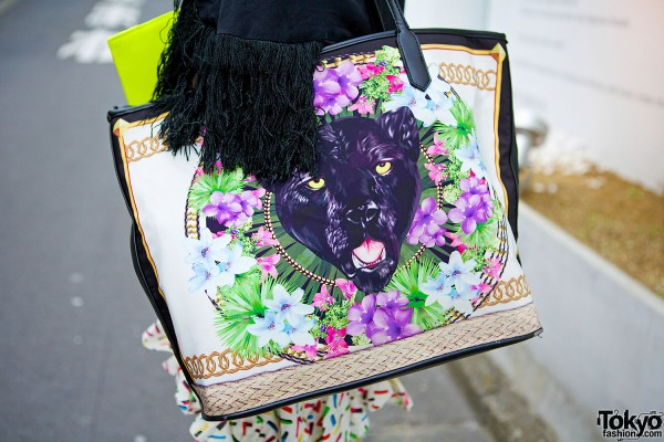 Panther & Flowers Bag