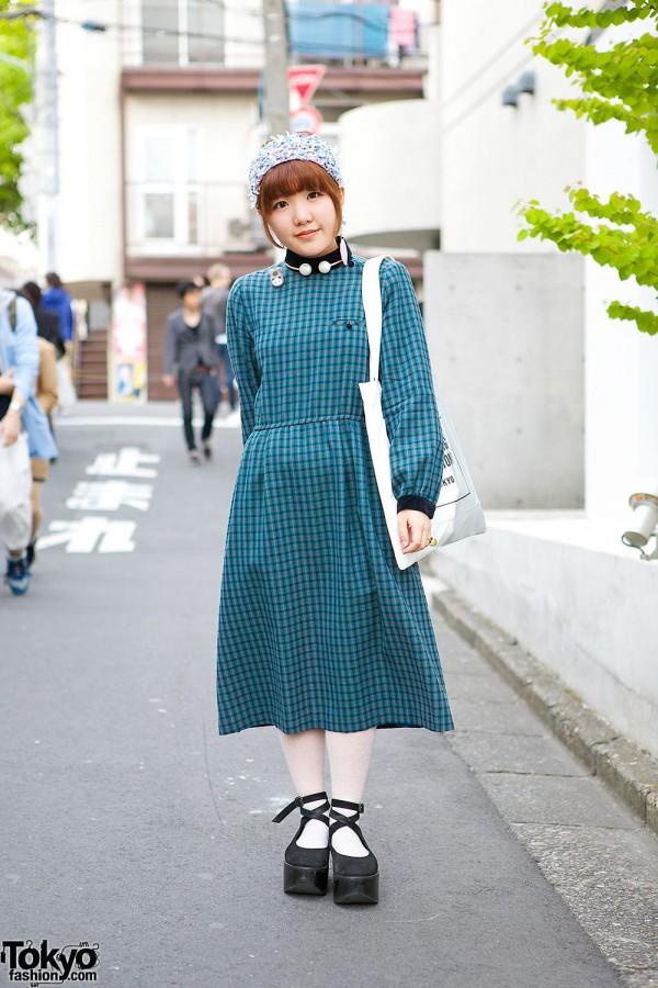 Resale Plaid Dress in Harajuku