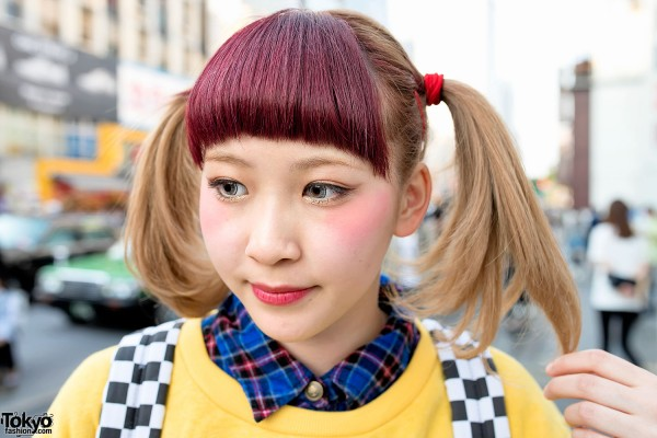 Red Bangs & Twin Tails Hairstyle