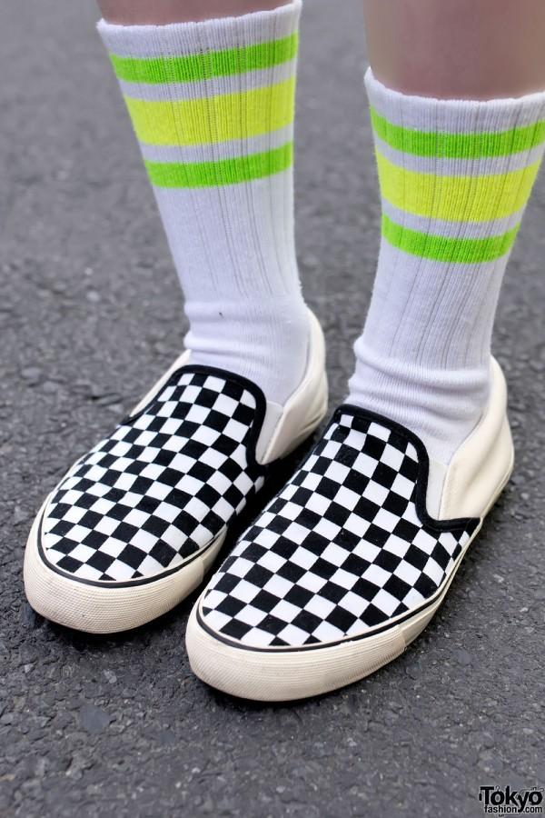 Vans Checkered Slipons & Tube Socks