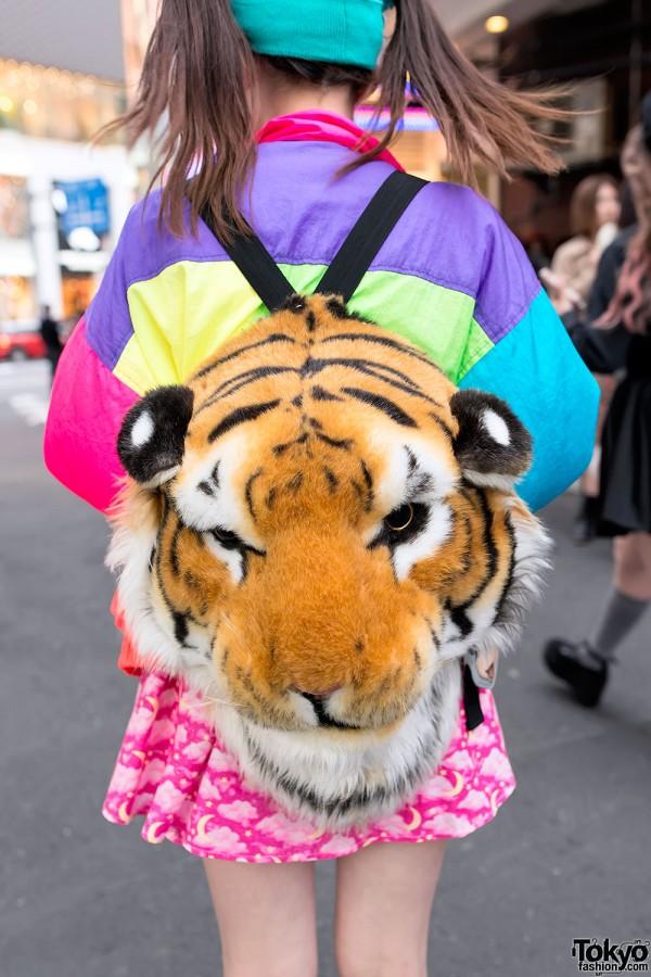 Orange Tiger Head Backpack