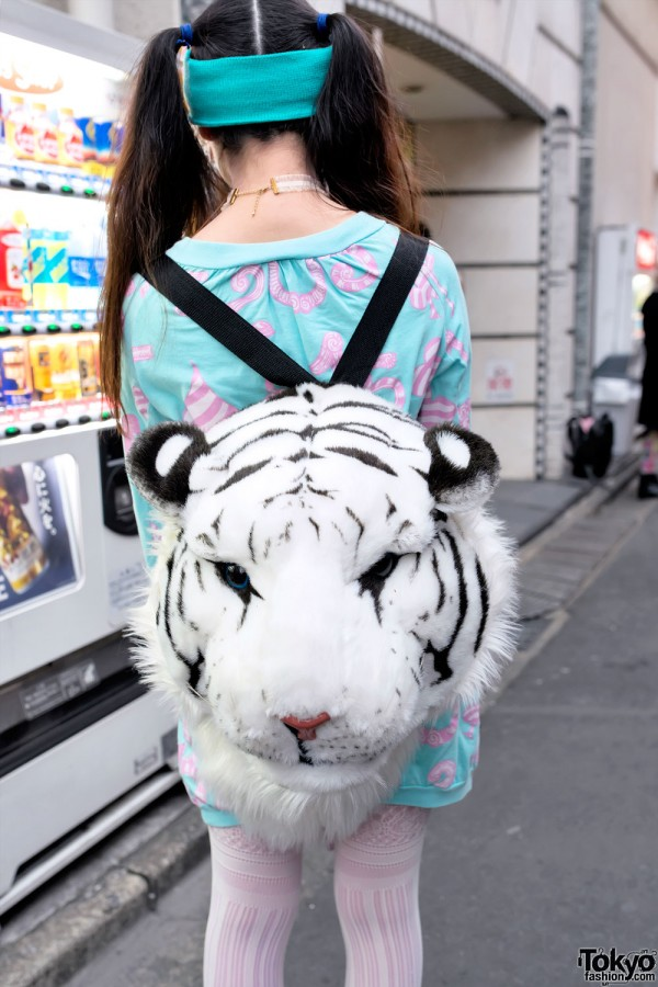 White Tiger Head Backpack