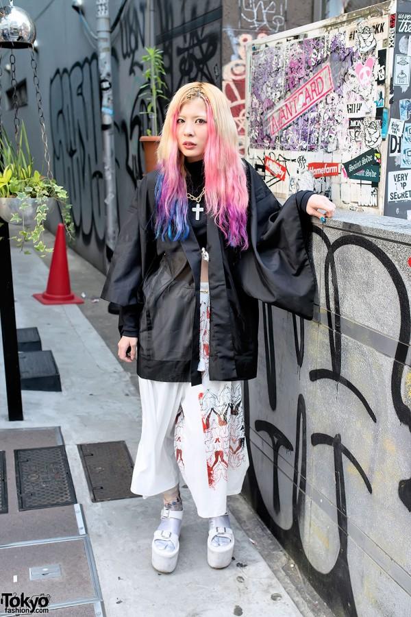 Sheer Kimono Top & Wide Leg Pants