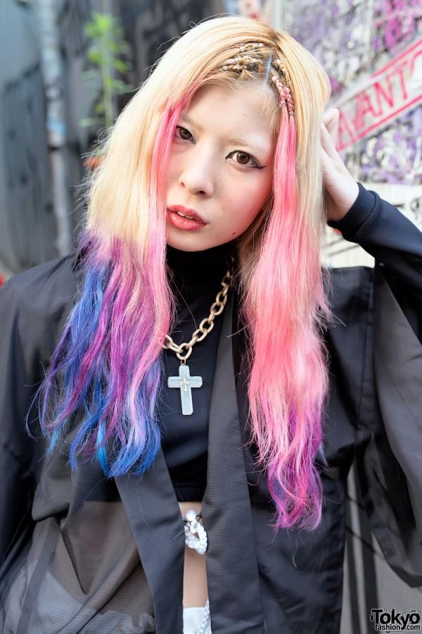Pretty Pink & Blue Dip Dye Hair