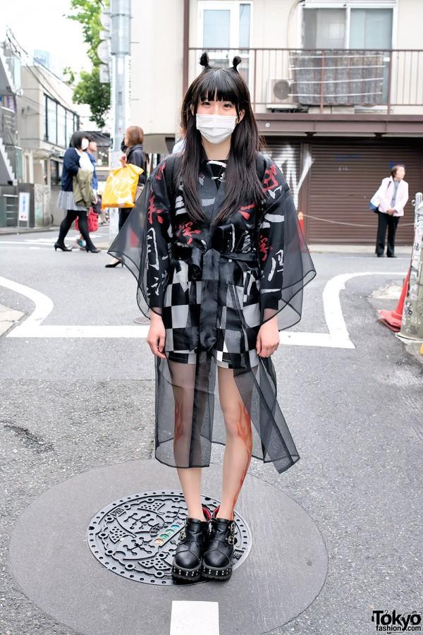 Galaxxxy Kanji Top, Bubbles Harajuku Sheer & Yosuke Platform Shoes