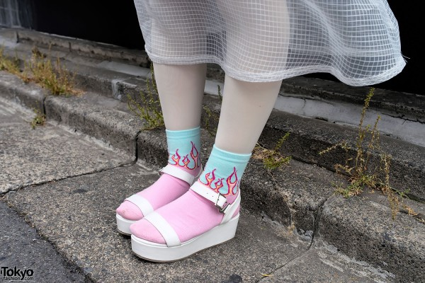 Flame Socks & Platform Sandals