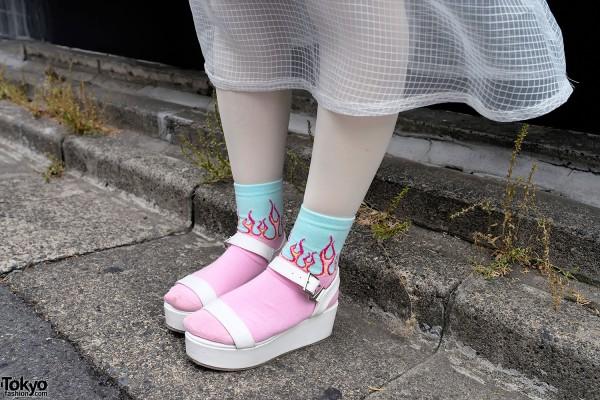 Flame Socks & Platform Sandals