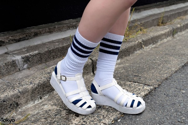 Platform Sandals & Striped Socks
