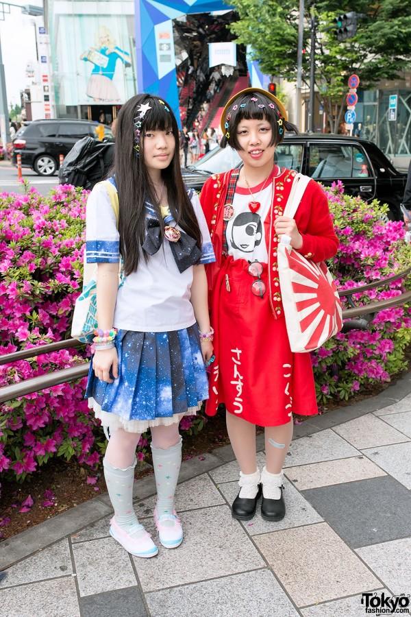 Galaxy Print Sailor Uniform & Sailor Moon Accessories in Harajuku