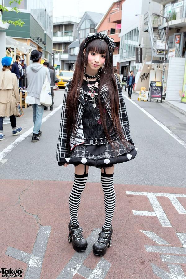 Plaid h.NAOTO Fashion, Striped Socks, Studded Heels & Piercings in Harajuku