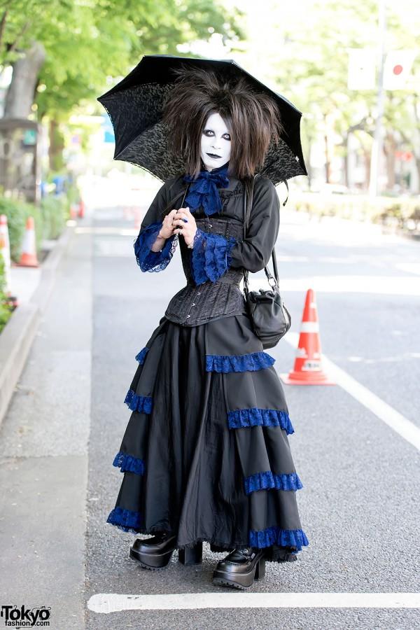 Gothic Harajuku Shironuri w/ Corset, Subdermal Implant & Blue Lace