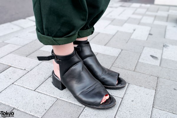 Black Leather Open Toe Heels
