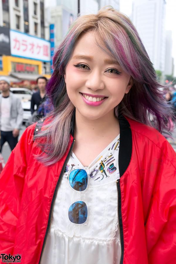 Rainbow Hair & Big Smile in Harajuku