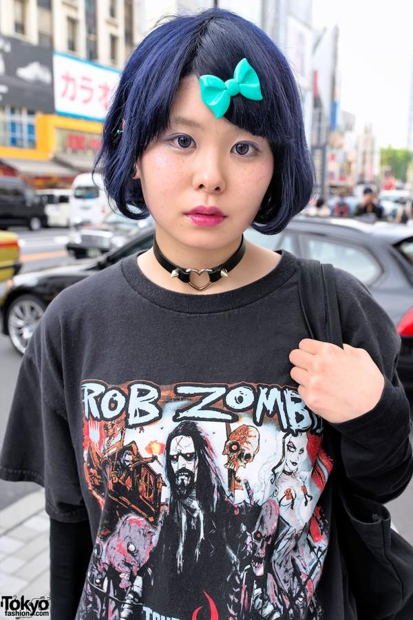 Blue Hair & Rob Zombie Shirt in Harajuku