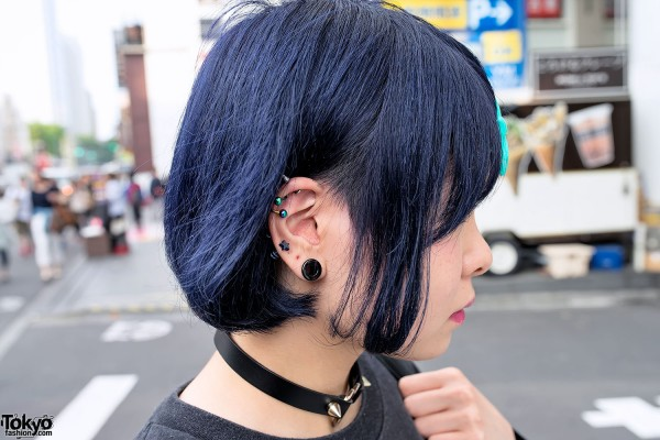 Blue Hair & Stretched Ear