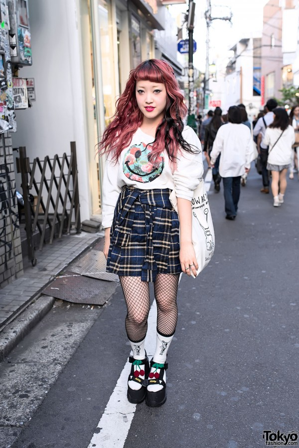 K3&co Cherry Platform Sandals, Nadia Harajuku Skirt &  Daniel Johnston Tote