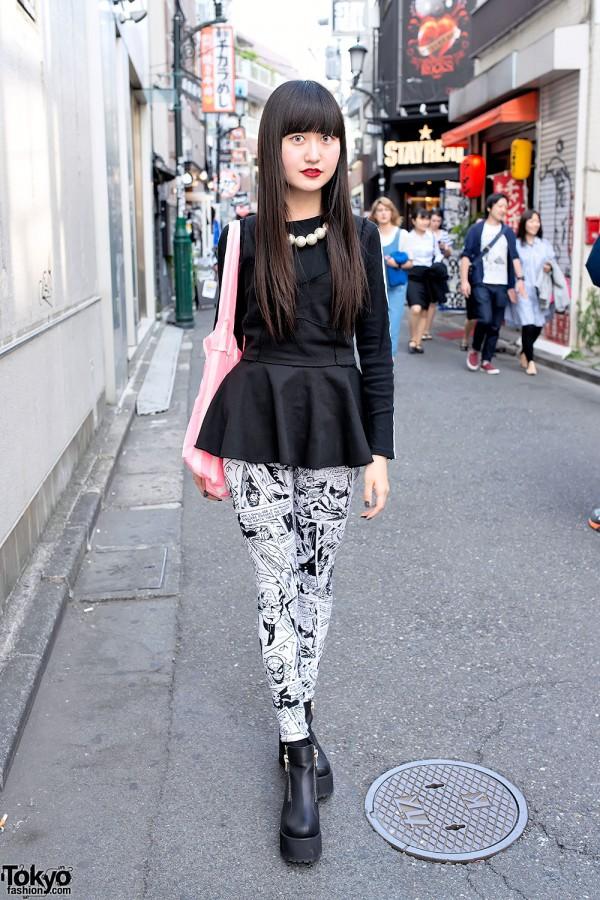 Harajuku Girl w/ Peplum Top, Comic Leggings & Unif Platform Booties