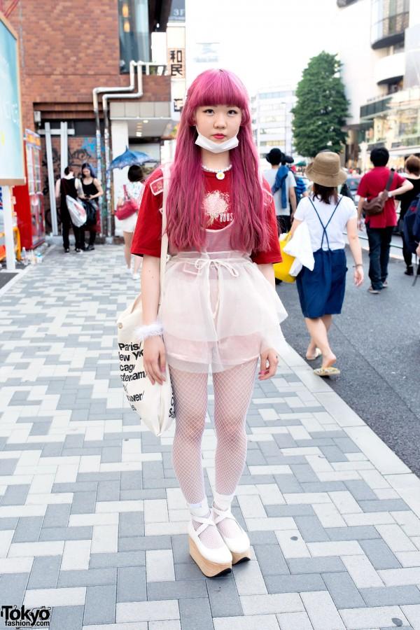 Pink Hair, Sheer Dress, Rocking Horse Shoes & Fishnets in Harajuku